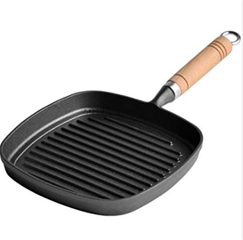 Freying pan no palo Sartén freír hierro fundido Pan cuadriculado Pan de sartén con asa de hierro fundido Grill Pan Steak Pan fáciles de usar