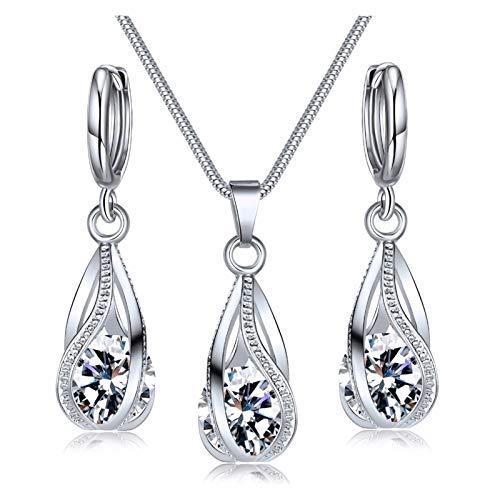 YNX MLKCL N677 1 - Juego de collar y pendientes de cristal, color metálico