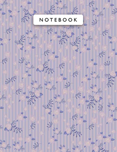 Notebook Rosy Brown Color Cool Vintage Rose Flowers Small Lines Patterns Cover Lined Journal: Monthly, Journal, 21.59 x 27.94 cm