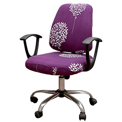 Unimore Office Chair Covers 2 Piece - Decorative Computer Chair Covers Stretch Universal Rotating Chair Slipcover (Purple Tree)