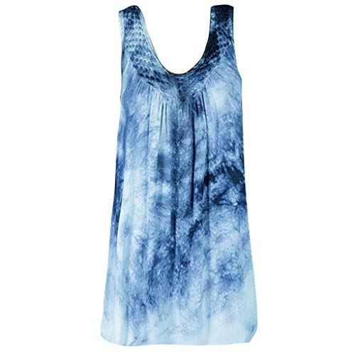 Women Plus Size Blouse, Summer Lace Splice Print Daily Baggy Shirt Beach Sleeveless Vest Tops Sports Vest Tank S-5XL