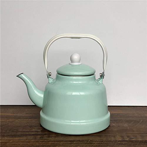 tetera esmalte Hervidor porcelana esmalte antigua olla campana fresco menta verde restaurante vertiendo agua de cocción teteratetera-1.6L