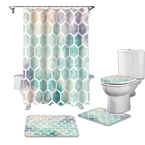 YPDWYJL Duschvorhang 4-teiliger geometrischer sechseckiger Duschvorhang aus Cyan-Marmor, Rutschfester Teppich-Toilettenbezug & rutschfeste Badmatte Wasserdichter Badvorhang