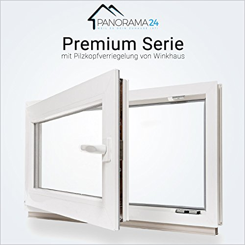 Kellerfenster - Kunststoff - Fenster - weiß - 2-fach-Verglasung - BxH: 70x45 cm DIN links - 60mm Profil - verschiedene Maße - schneller Versand