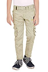 ADBUCKS Premium Rich Cotton Boys Cargo Pants with Belt for Boys