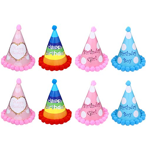 PRETYZOOM - 8 unidades de sombrero de fiesta de cumpleaños con pompón para bebé, corona de cumpleaños, gorro de fiesta de cumpleaños, gorro de fiesta de bebé, fiesta de cumpleaños