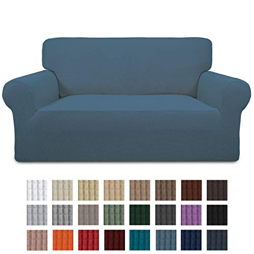 Easy-Going Stretch Loveseat Slipcover 1-Piece Sofa Cover Furniture Protector Couch Soft with Elastic Bottom for Kids,Polyester Spandex Jacquard Fabric Small Checks(Loveseat,Bluestone)