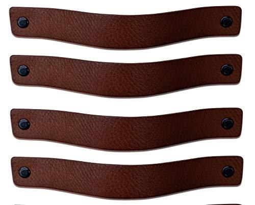 Brute Strength - Maniglie in pelle - Marrone castagna - 4 pezzi - 20 x 2,5 cm - include 3 colori di viti per maniglia in pelle per armadi da cucina - bagno - armadietti
