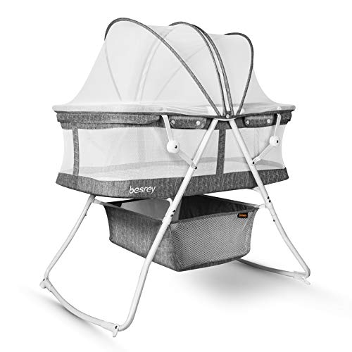 besrey Baby Crib Rocking Toddler Bed 2 in 1 Portable Travel Bassinet with Harmless Mattress Quick Fold for Newborn Girl Boy Infant up to 33 lb