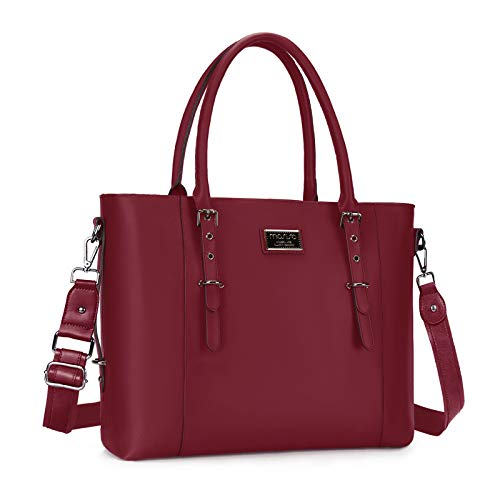 MOSISO Laptop Tote Bag (Up to 15.6 Inch),Water Resistant PU Leather Shoulder Briefcase Handbag Compatible with MacBook & Notebook Large Capacity with Padded Compartment, Maroon Red