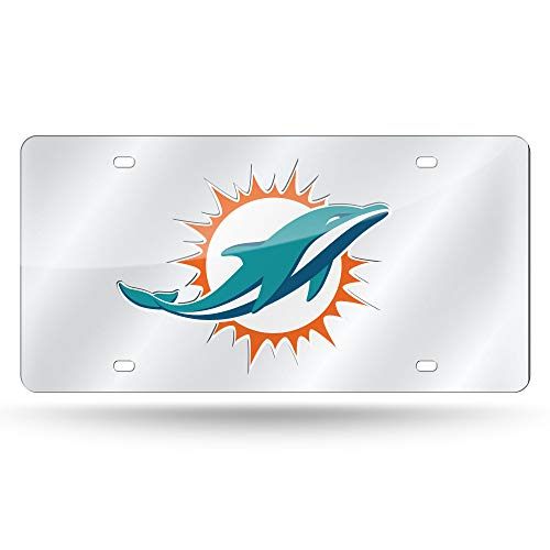 NFL Rico Industries Laser Inlaid Metal License Plate Tag, Miami Dolphins
