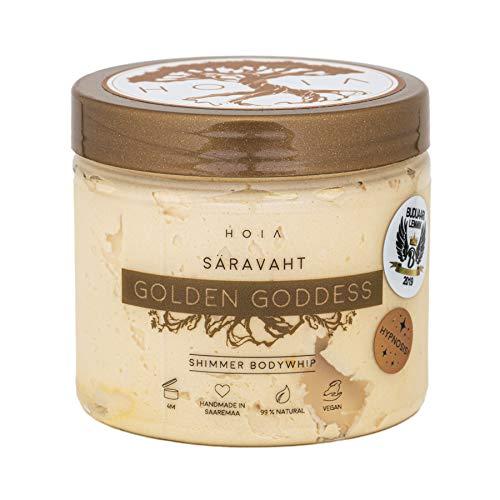 HOIA glitzernde Body Butter GOLDEN GODDESS | veganer Körpermousse | 99% natürlich | spendet Feuchtigkeit und macht geschmeidige Haut | Duft: Mandarine & Limette | Naturkosmetik aus Saaremaa | 200ml
