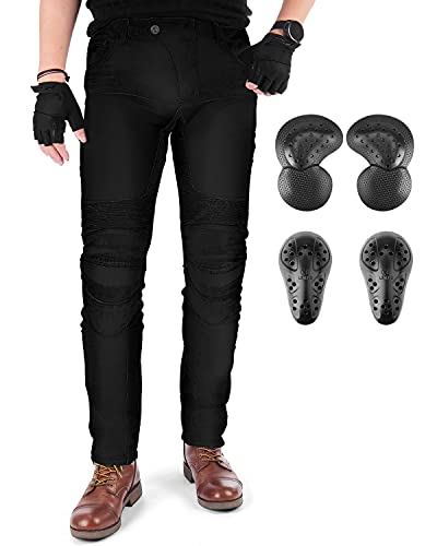 kemimoto Motorcycle Riding Pants Men Motocross Pants Jeans with 4 Protective Pads Black