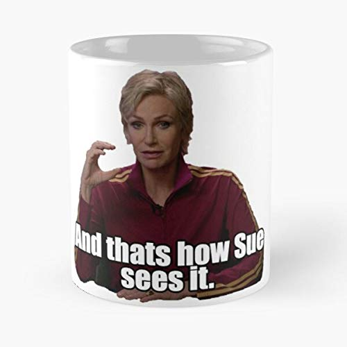 Sue Dalton High Sees Glee It Mckinley Gleek Sylvester Taza de café con Leche 11 oz