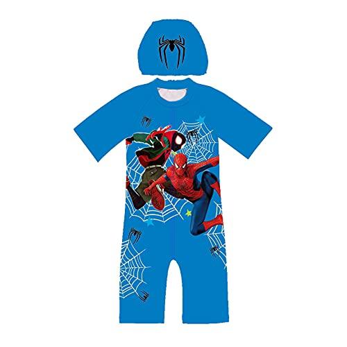 MYYLY Cosplay Spiderman Maillot De Bain Combinaison Avenger Garçon Fille Super-héros Natation Costume Plage 2 Pièces Maillots De Bain Protection Solaire Body,Blue-S Kids (105~115CM)