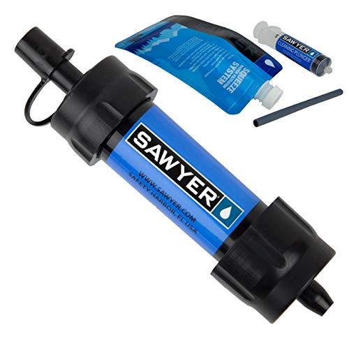 Sawyer Mini Filter Sparsets Wasserfilter für Camping Outdoor Hiking Wandern Sport Fitness (SP128 Blau)