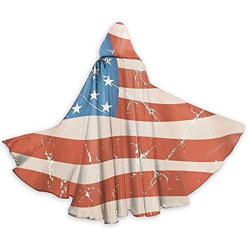 KDU Fashion gordijn met heks, achtergrond met vlag, Amerikaanse vlag, mantel met capuchon, zacht en comfortabel, heksenhoed voor kostuums van heks Cosplay 40 x 150 cm
