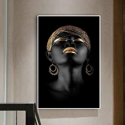 NIMCG Ölgemälde Betrachter Schwarzafrikanerin Wandkunst Bild auf Leinwand Poster und Drucke Skandinavisch für Wohnzimmer (ohne Rahmen) 40x50CM