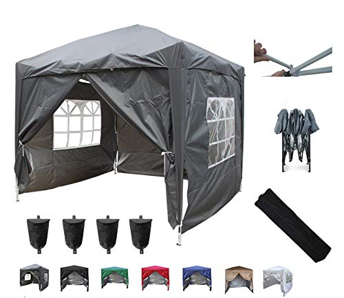 MCC@home 3x3m Waterproof Pop-up Gazebo with Silver Protective Layer Marquee Canopy WS (Grey)
