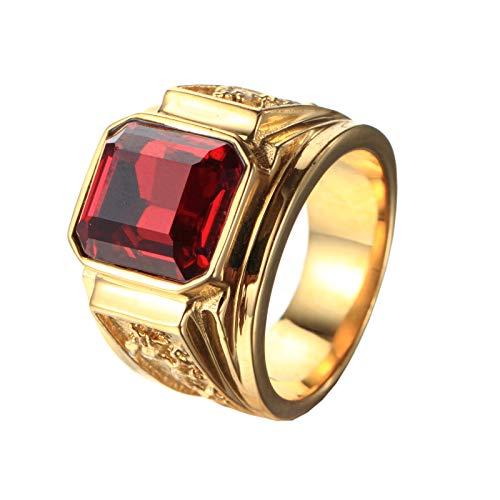 PMTIER Hombres Acero Inoxidable Dragón Patrón Sencillo Cuadrado Piedra Preciosa Anillos Band Oro, Rojo Tamaño 17