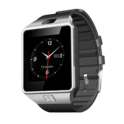 CHEREEKI Smartwatch Bluetooth 1,56 Pollici Touch Screen Supporto SIM & TF, Unisex Orologio Intelligente con Macchina Fotografica Pedometro per Sony/Samsung Tutti i Telefoni Android - Argento
