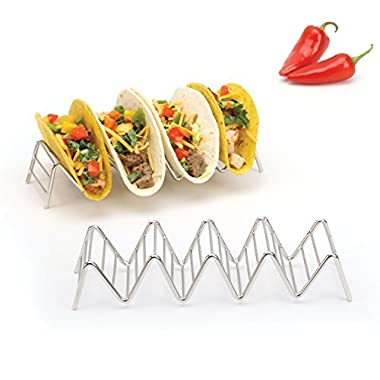 Taco Holder, Hold 4 or 5 Hard or Soft Shell Tacos, Set of Two Stands, Premium 18/8 Stainless Steel Racks by 2LB Depot