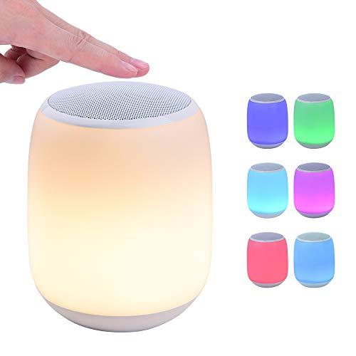Bluetooth-Lautsprecher Zoeson LED, tragbarer drahtloser Lautsprecher , Farbwechsel-Nachttischlampe Tischlampe Smart Touch Mood Lampe für Party/Schlafzimmer/Outdoor