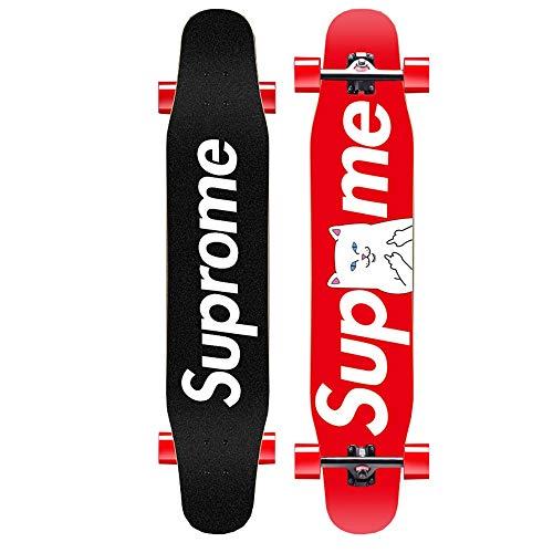 WHOJS Skateboard Patineta Longboard Adecuado for Adolescentes Adultos. Arce De Roca Dura De 7 Capas Tabla De Baile Profesional Rueda De Poliuretano De 80A. Rodamiento ABEC-11 【Selección de color y mot