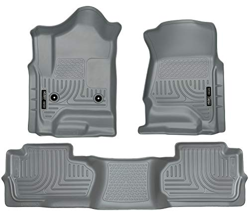 Husky Liners Fits 2014-18 Chevrolet Silverado/GMC Sierra 1500 Double Cab, 2019 Chevrolet Silverado 1500 LD/GMC Sierra 1500 Limited Double Cab, 2015-19 Silverado/Sierra 2500/3500 Double Cab Weatherbeater Front & 2nd Seat Floor Mats (Footwell Coverage)