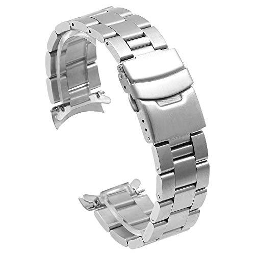 Kai Tian Correas reloj cónica 22mm Correa de reloj de acero inoxidable para hombres, mujeres Banda de repuesto de reloj con extremos curvos Cierre de despliegue de metal plateado