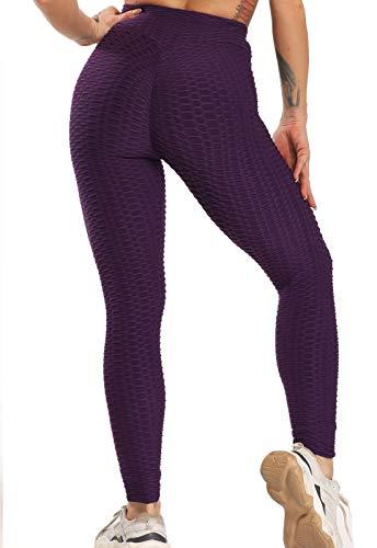 FITTOO Leggings Push Up Mujer Mallas Pantalones Deportivos Alta Cintura Elásticos Yoga FitnessMoradoM