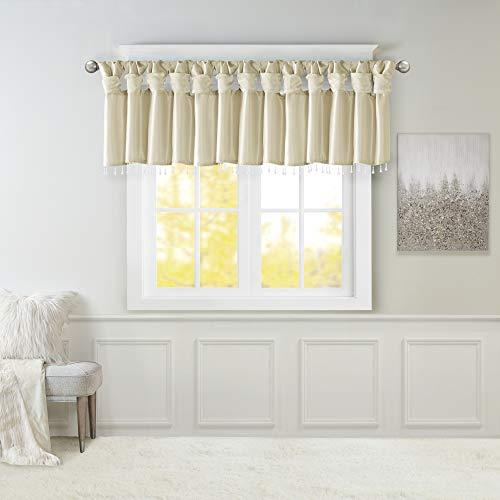 "Emilia Faux Silk Valances for Windows with Beads , Elegant window valance , 50""W X 26""L , Champagne"