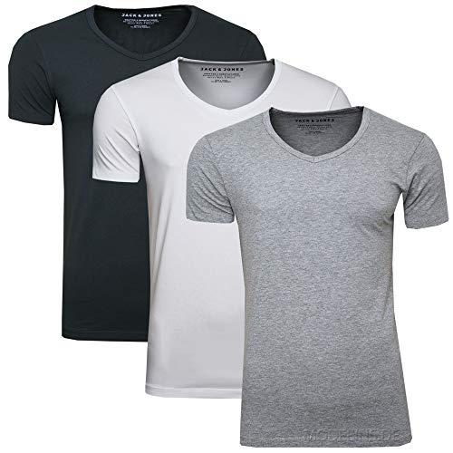 Jack & Jones Juego de 3 camisetas básicas para hombre con cuello...