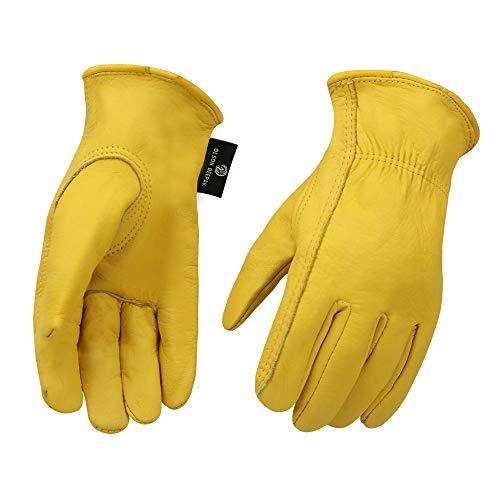 OLSON DEEPAK Cowhide Leather Work Gloves for Men and Women,Gardening...