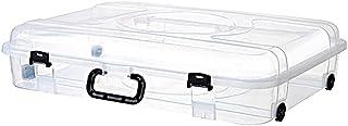 BBZZ Boîte de rangement avec couvercle, légère, robuste, empilable sous le lit, en plastique, petite fermeture hermétique,...