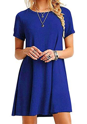 OMZIN OMZIN Damen Langes Shirt Basic Tops Einfärbig Shirtkleid Kurzarm Shirt Casual Tunika Sommerkleid Blau XXL