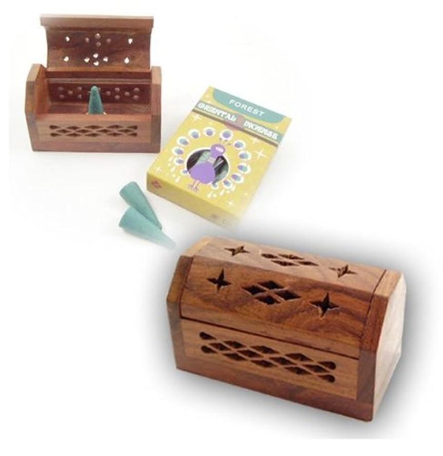 脆い形成ソーダ水お香立て コーン用BOX SSサイズ ブラウン シーシャムウッド (ブラウン)