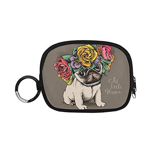 Monedero para niños Hippie Pug Puppy Floral Head Wreath Monedero Moderno Monedero con Cremallera con Llavero Anillo para niña Mujer Niños