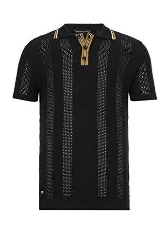 Herren T-Shirt Polo Shirt Casual Vintage Kurzarm Strick Schwarz M