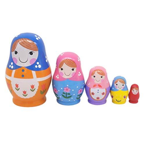 SUPVOX Russe Poupées Gigognes Matryoshka Empiler des Poupées Jouets Cadeau pour Enfants Cadeau de la Saint-Valentin 5pcs