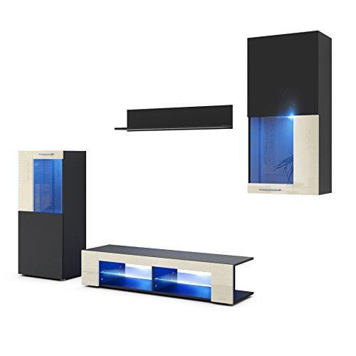 Wohnwand Anbauwand Movie, Korpus in Schwarz matt/Fronten in Schwarz matt und Creme Hochglanz mit Blauer LED Beleuchtung