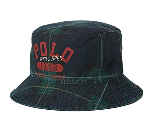 Polo Ralph Lauren Print Reversible Bucket Hat (Small/Medium, Gordon Plaid(2001)/Olive)