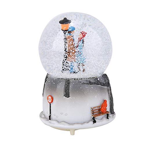 Kuuleyn Globo de Nieve, Material Abs Clear Melody Ecológico Durable Novedad Luz Nocturna Caja de música Musical Adorno de Escritorio con luz LED Copos de Nieve Luz Nocturna