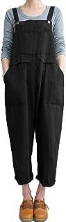 Sobrisah Women's Casual Plus Size Strappy Harem Overalls Baggy Wide Leg Cotton Rompers Jumpsuit