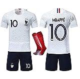 Rongli - Camiseta de fútbol de 2 Estrellas con Calcetines y Accesorios para Hombre y niño, 10 Mbapp¨¦-Blanc, Large