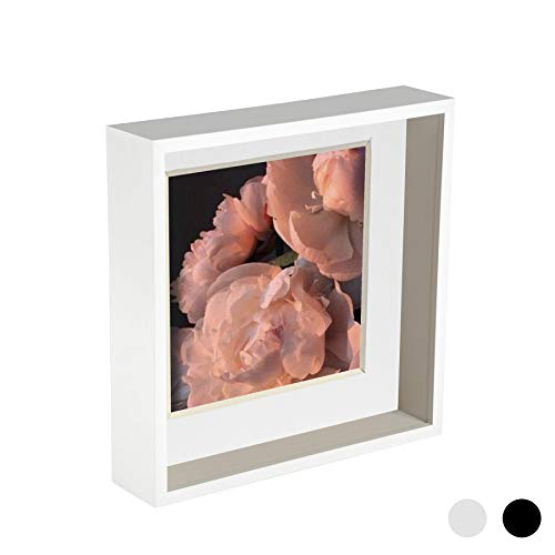 Nicola Spring 10 x 10 3D Shadow Deep Box Photo Frame - Craft Display Picture Frame with 8 x 8 Mount - White