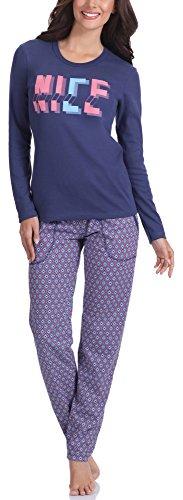 Italian Fashion IF Pijama Camiseta y Pantalones Mujer N1NC6 M007 (Marino, S)