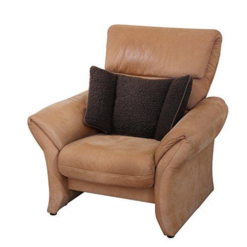 Coussin cale-reins pour fauteuil en pure laine d'agneau, marron, 74 x 40 cm