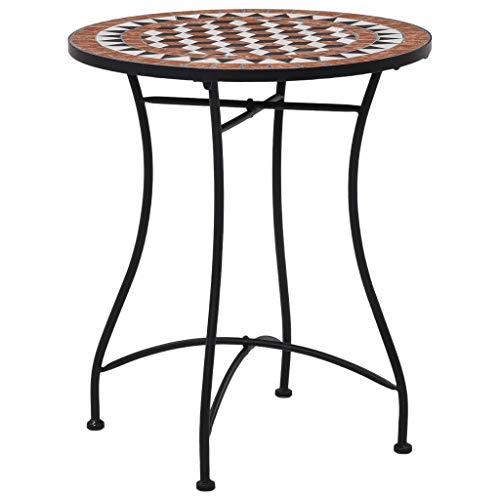 vidaXL Mosaik Bistrotisch Gartentisch Balkontisch Mosaiktisch Terrassentisch Tisch Beistelltisch Couchtisch Gartenmöbel Braun 60cm Keramik