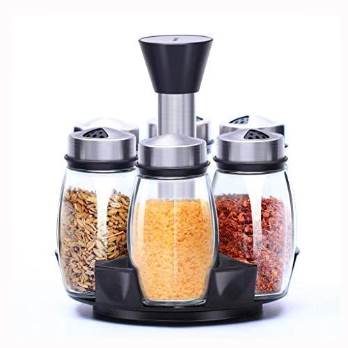 LYMUP Cocina giratoria Frasco de Vidrio condimento condimento decodificador casa condimento Frasco de la Botella del condimento Botella de Caja de Polvo (Size : A)
